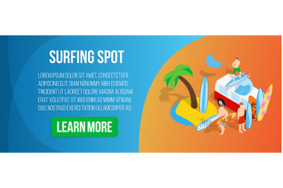Surfing spot concept banner, isometric style