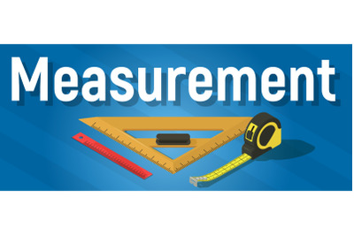 Measurement concept banner, isometric style