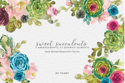 Watercolor Succulents & Flowers Clip Art Set