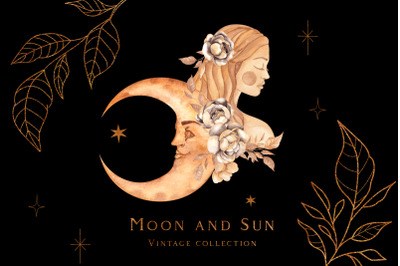 Vintage moon and sun