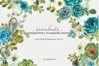 Watercolor Succulent Clip Art Set