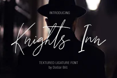 Knights Inn. Textured brush font. SALE!