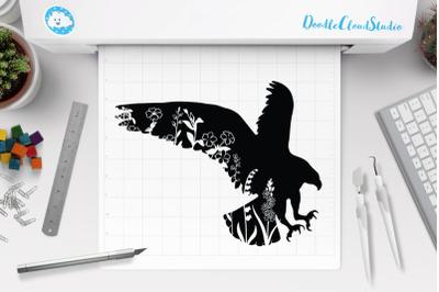 Floral Eagle SVG Cut Files, Floral Eagle Clipart.