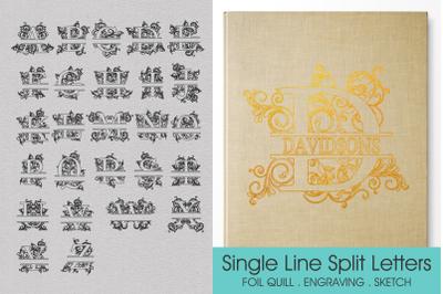 Foil Quill Split Letters, Single Line Letters, Split Letters