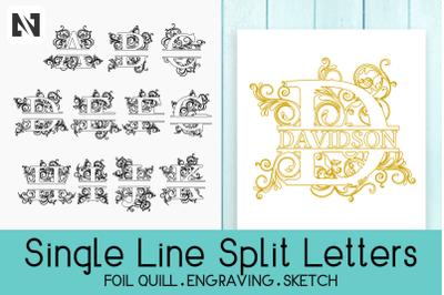 Foil Quill Split Letters&2C; Single Line Letters&2C; Split Letters