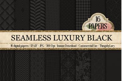 16 Seamless Luxury Black Digital Papers black gray pattern