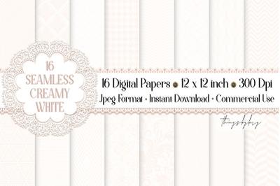 16 Seamless Luxury White Digital Papers ivory cream wedding