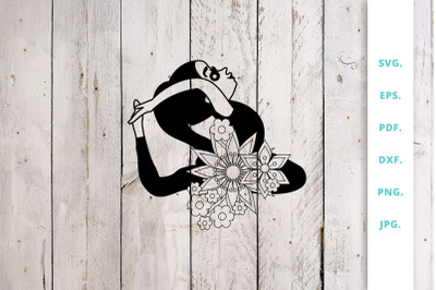 Floral Cute Yoga Girl Cut File 1