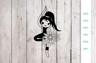 Floral Cute Yoga Girl Cut File 2