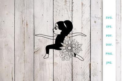 Floral Cute Yoga Girl Cut File 3