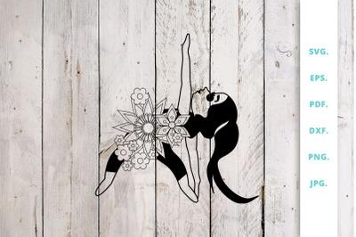 Floral Cute Yoga Girl Cut File 4