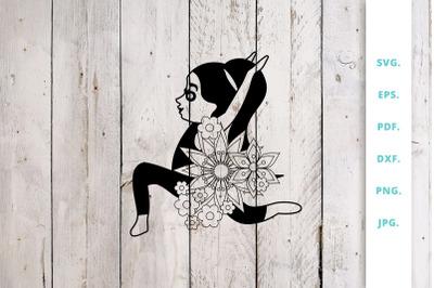 Floral Cute Yoga Girl Cut File 7
