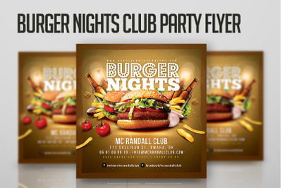 Burger Nights Club Party Flyer
