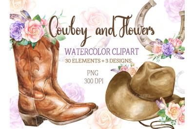 Watercolor Cowboy clipart Rustic Country wedding clip art png boots ha
