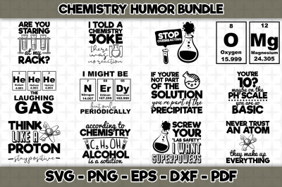 Chemistry Humor SVG Bundle - 12 Designs Included