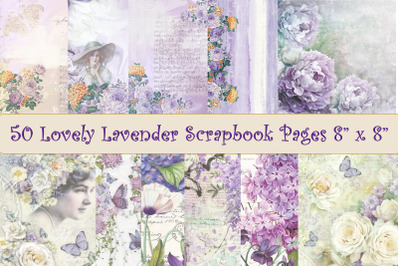 "50 Scrapbook Papers. Lavender and Lilac 8"" x 8"""