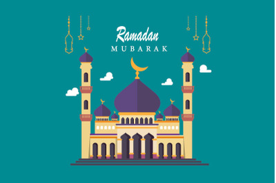 Mosque Silhouette Vector Digital, Suitable for Ramadan & Eid Greeting,
