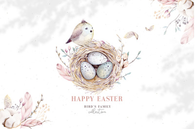 Watercolor Happy Easter birds & nest