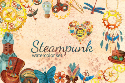Steampunk watercolor clipart set