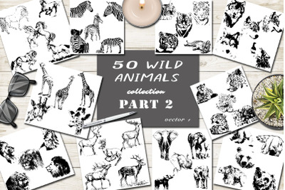 50 wild animals silhouette vector