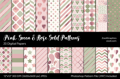 Pink, Green & Rose Gold Digital Papers