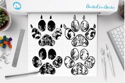 Floral Pet Paw SVG, Dog svg, Cat svg,  Floral Dog & Cat Clipart