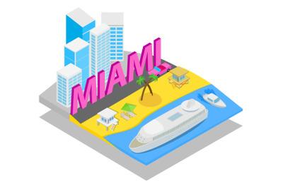 Miami concept banner, isometric style