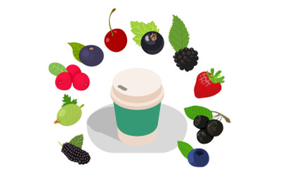 Smoothie concept banner, isometric style