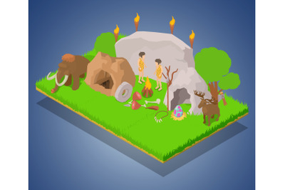 History age concept banner, isometric style
