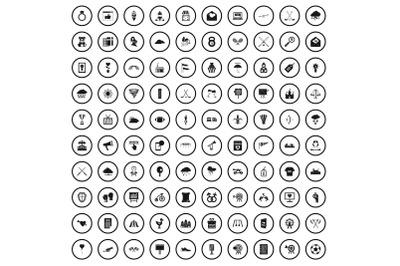 100 arrow icons set, simple style