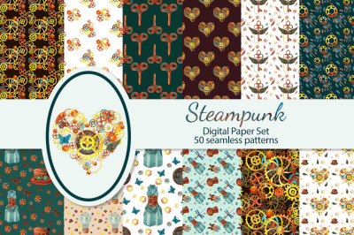Steampunk seamles digital paper