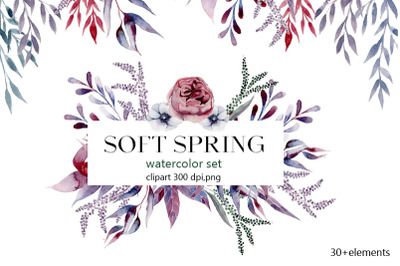 Spring watercolor  Flowers pattern,flowering, beautiful flowers,leave,