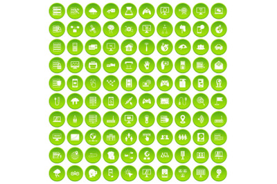 100 network icons set green