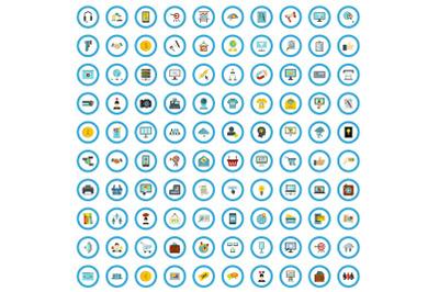 100 e-marketing icons set, flat style