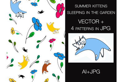 Seamless pattern vector illustration of summer kittens in a garden