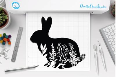 Floral Rabbit SVG, Floral Bunny SVG,  Bunny Clipart,