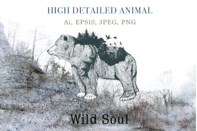 Animal series, wild soul bear vector illustration