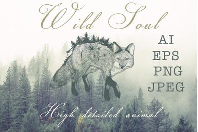 Animal series, wild soul fox vector illustration