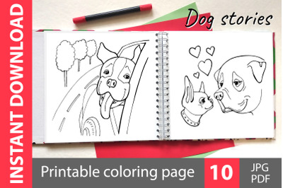 Dog stories - coloring book