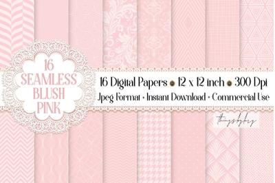 16 Seamless Luxury Blush Pink Wedding Peony Digital Papers