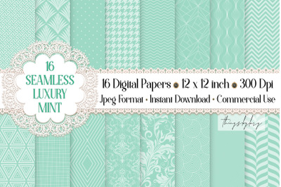 16 Seamless Luxury Mint Spring Happy Easter Digital Papers