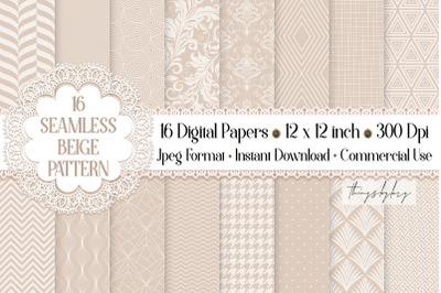 16 Seamless Luxury Beige Neutral Pastel Wedding Papers