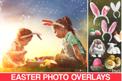 50 Easter photo overlays, spring photo overlay, photoshop overlay,