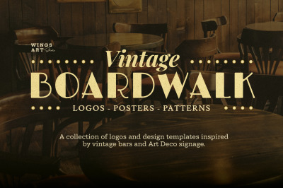 Vintage Boardwalk Logos Posters and Patterns Collection
