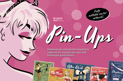 Pin-Up Illustrations and Poster Templates