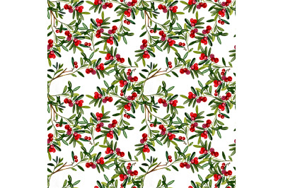 Seamless abstract pattern with leaves and berries.