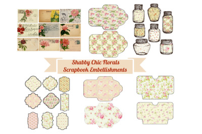 Shabby Chic Florals Journal Scrapbook Embellishments Kit