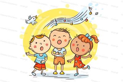 Kids singing together, variant with cartoon hands