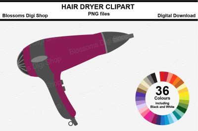Hair Dryer Sticker Clipart, 36 files, multi colours