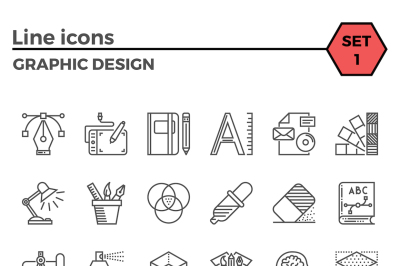 Graphic design thin line icons set